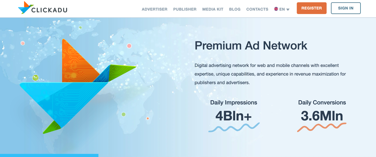 ClickAdu Homepage