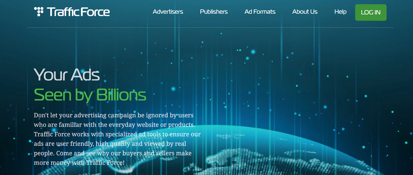 Traffic Force Ad Network Homepage