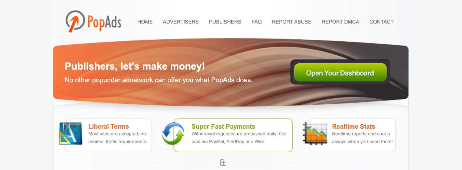 PopAds Homepage