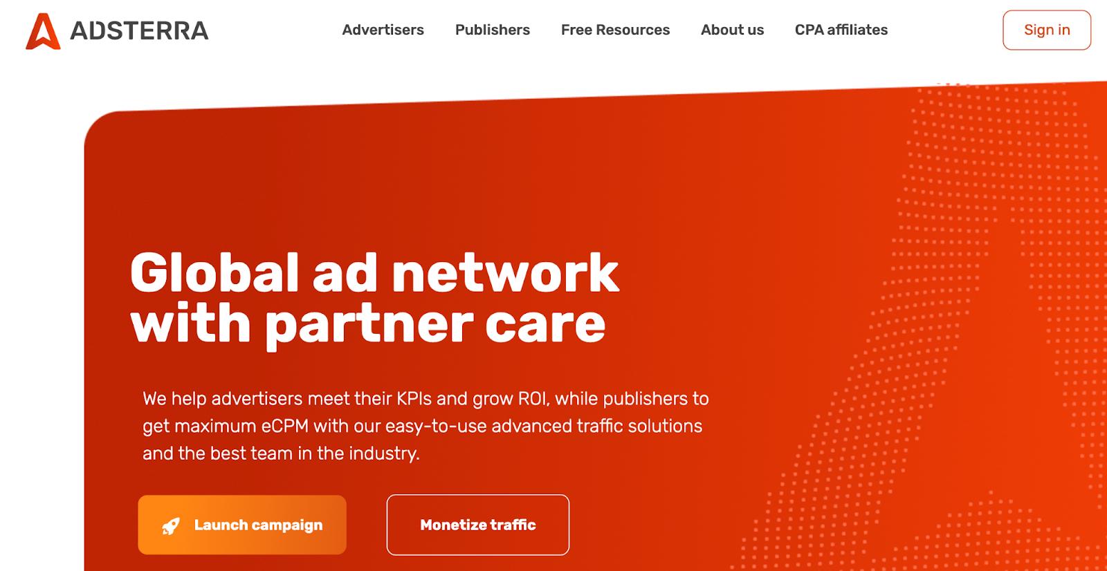 Adsterra Homepage
