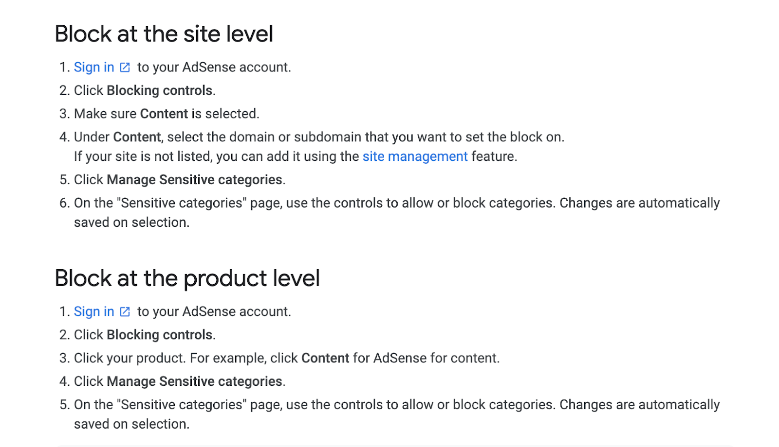 Blocking Ads By Site and Category on Google AdSense