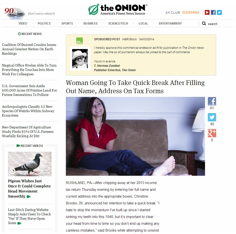 Example of native advertising on The Onion
