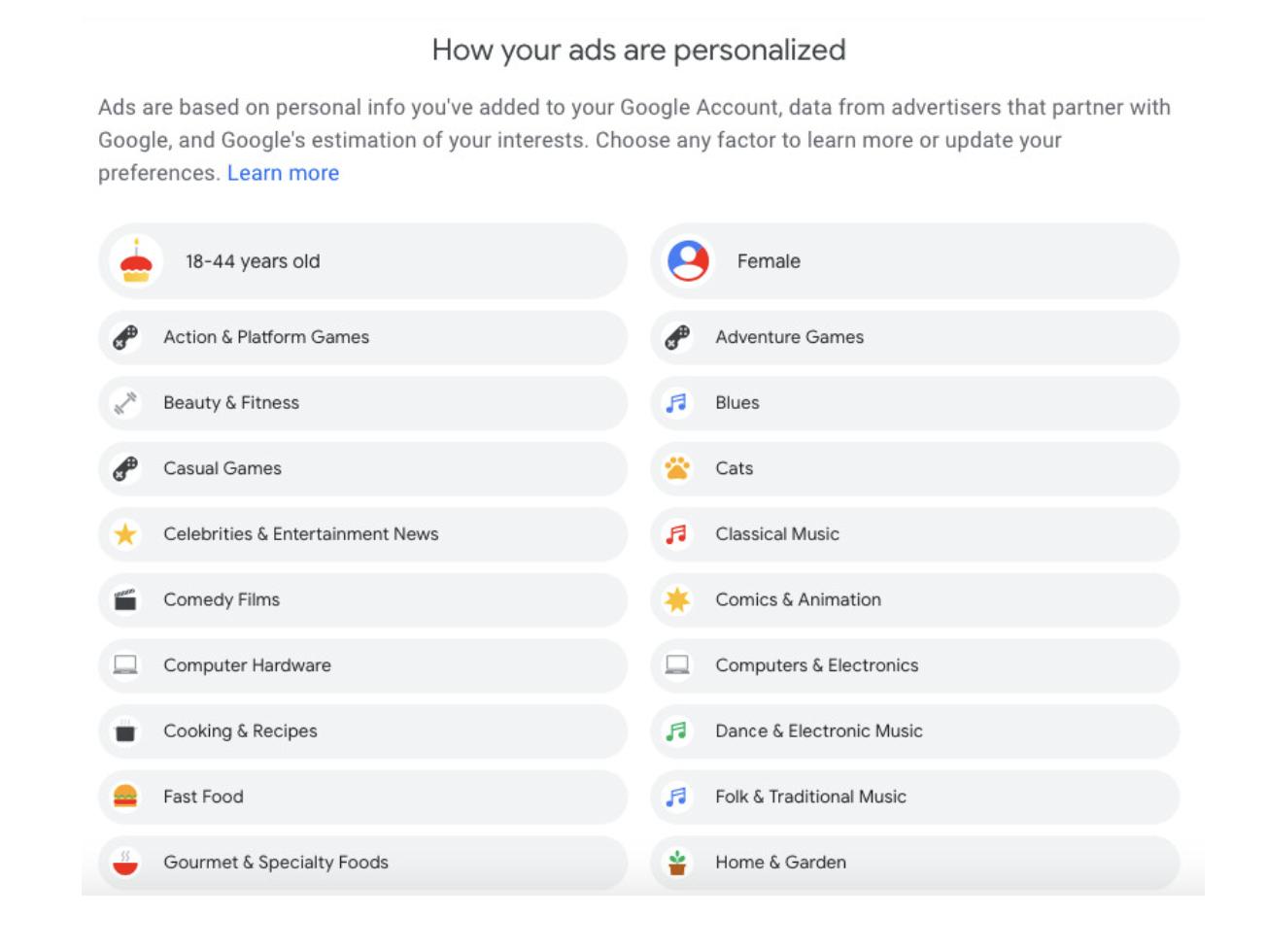 Google Ad behavioural targeting preferences