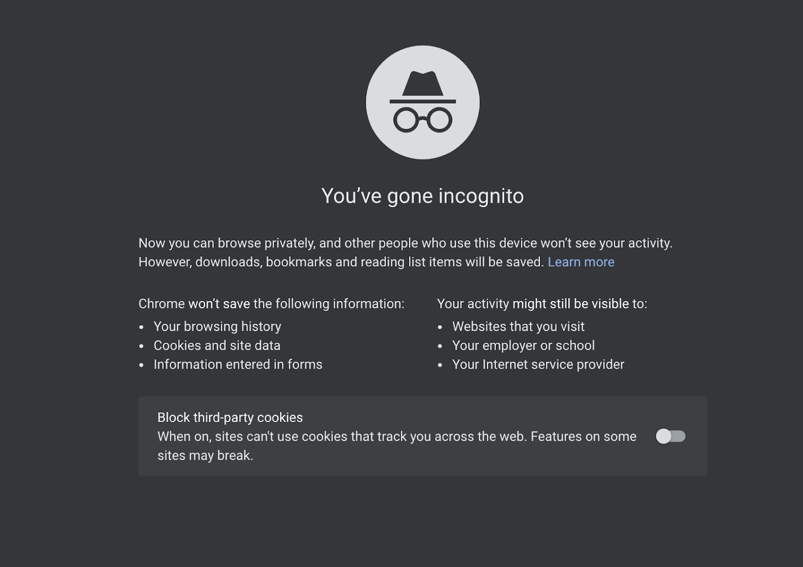 Incognito mode offering third party cookie blocking option on Google Chrome