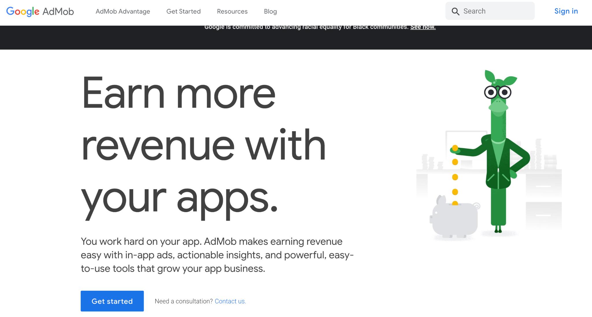 Google AdMob Homepage