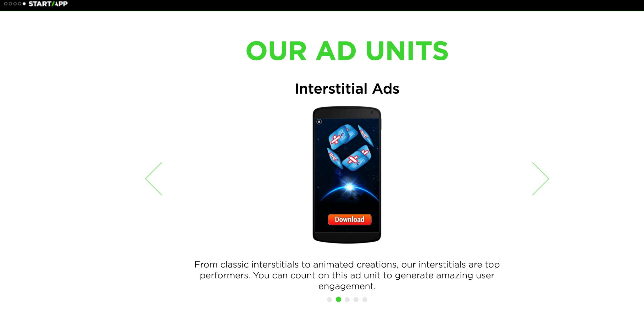 StartApp Homepage