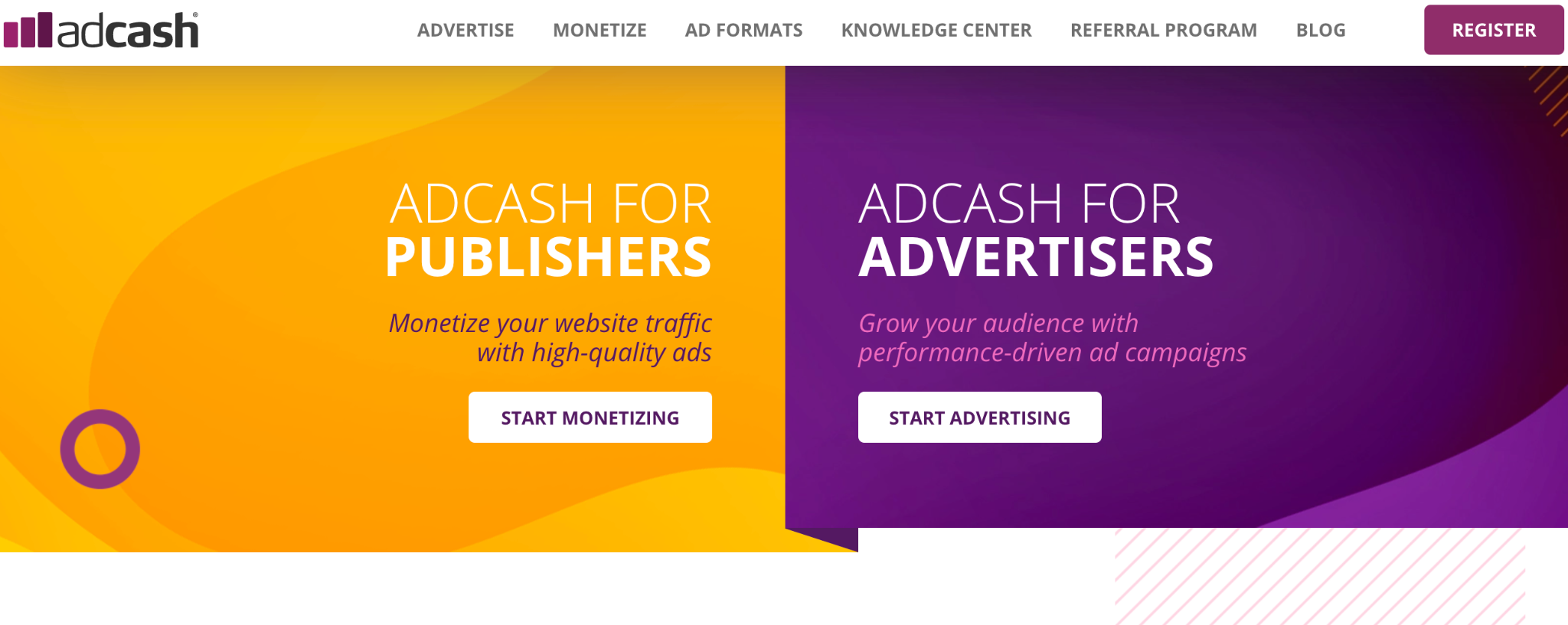 Ad Cash Ad Network Homepage