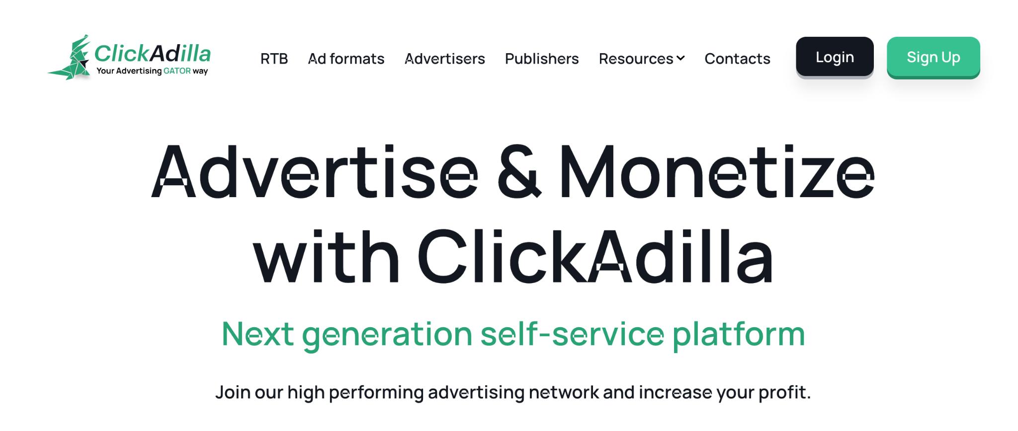 ClickAdilla Homepage