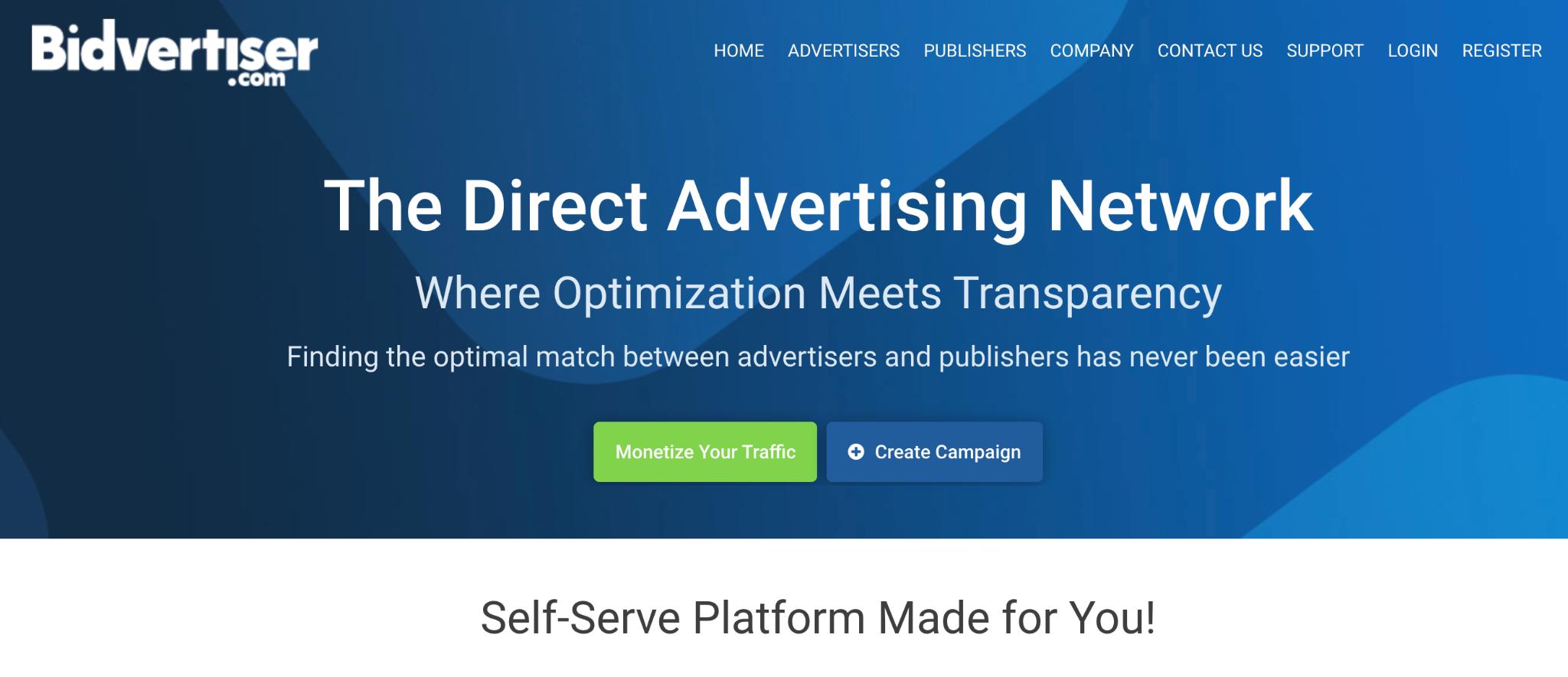 Bidvertiser Homepage