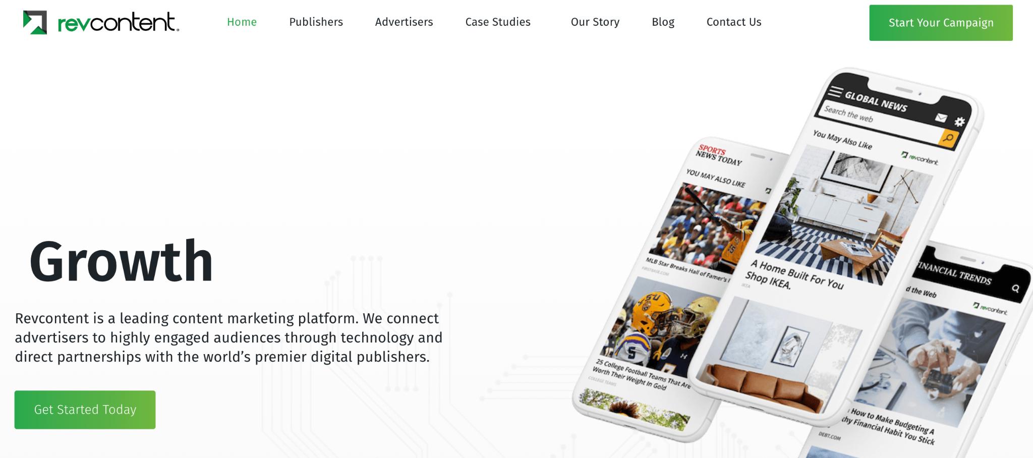 RevContent native advertising platform homepage