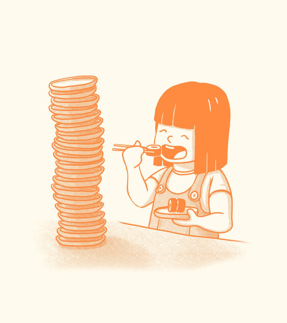 Bittyfish Girl Eating Sushi Illustration