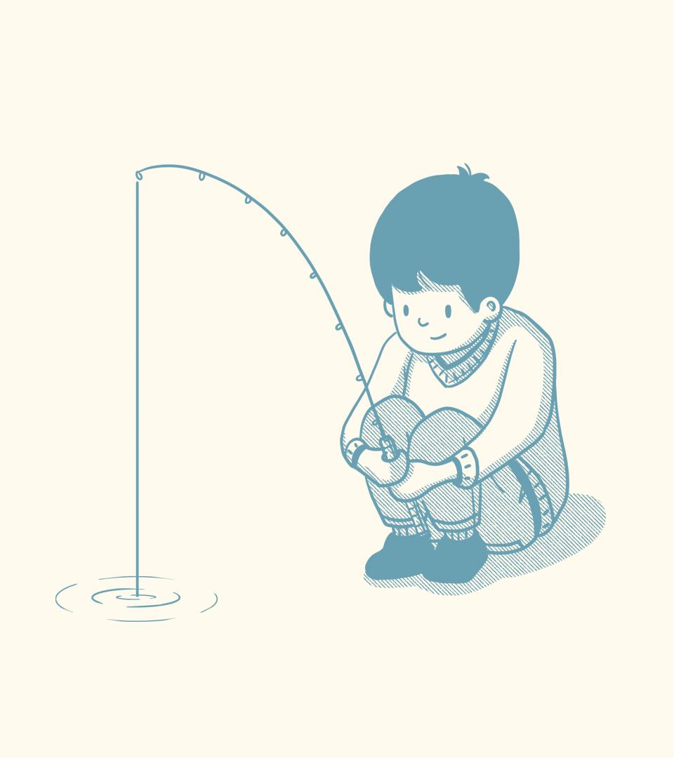 Bittyfish Boy Fishing Illustration