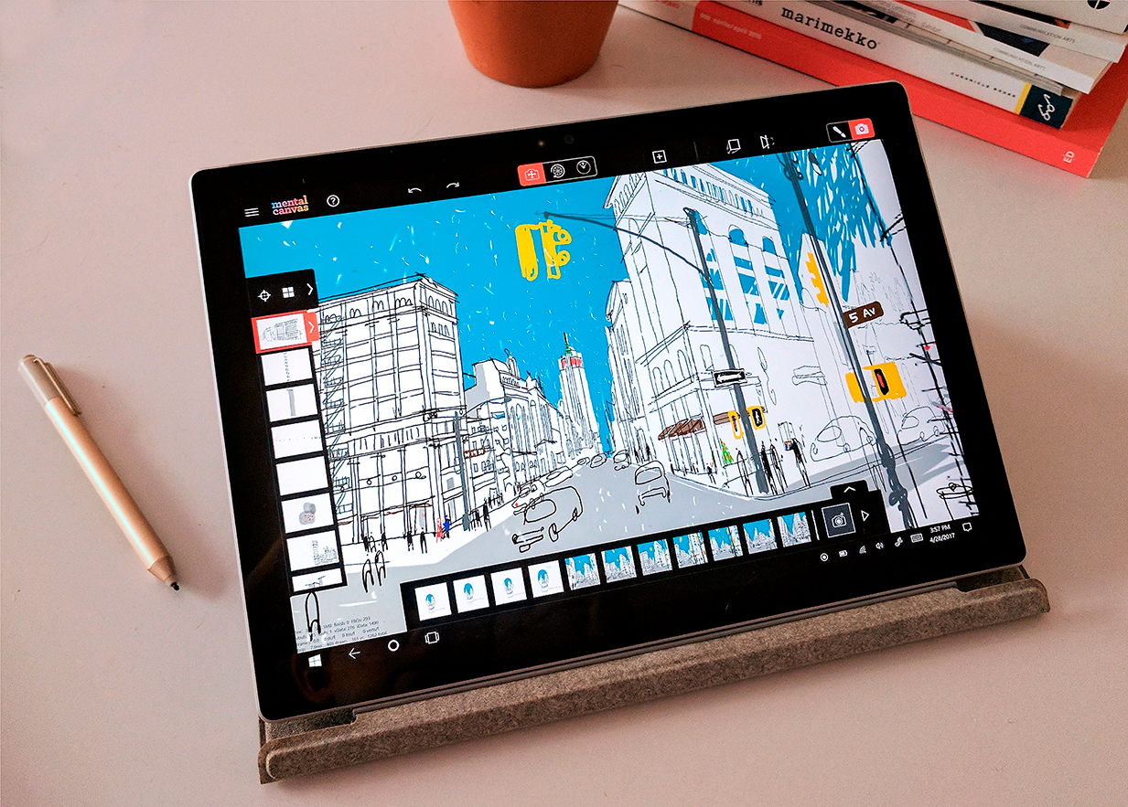 Photograph of a Microsoft Surface tablet with a mental canvas drawing on the screen