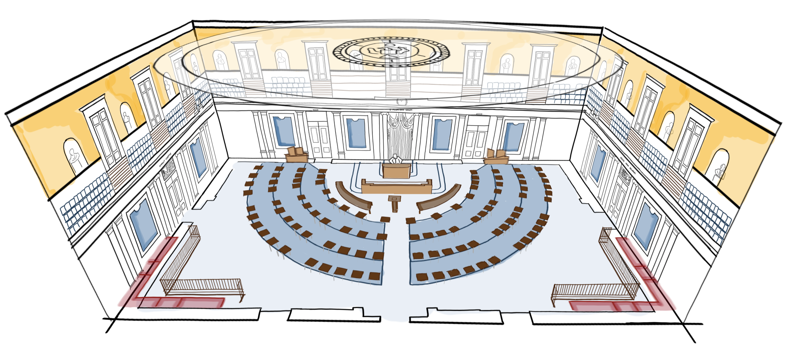 Illustration of the impeachment senate chamber by the New York Times