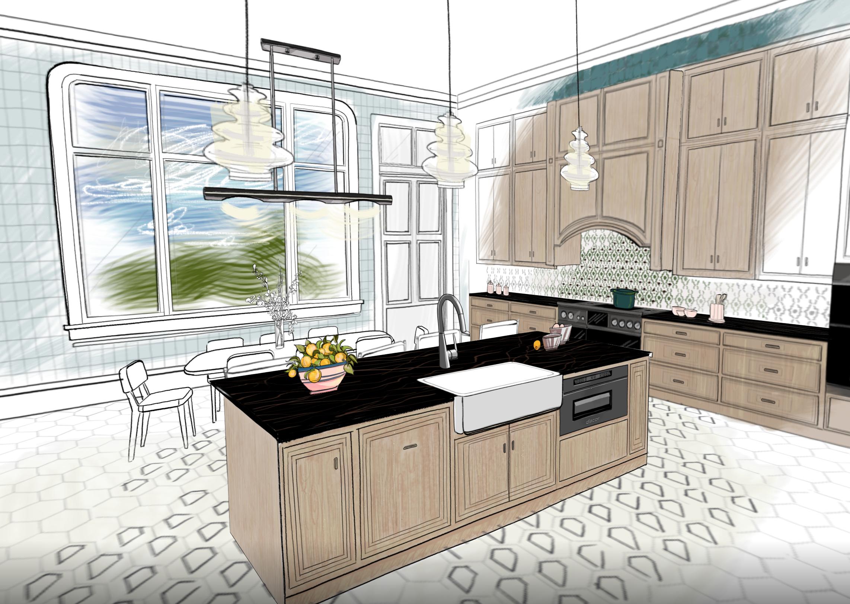 Illustration of a designer kitchen by House Beautiful Magazine