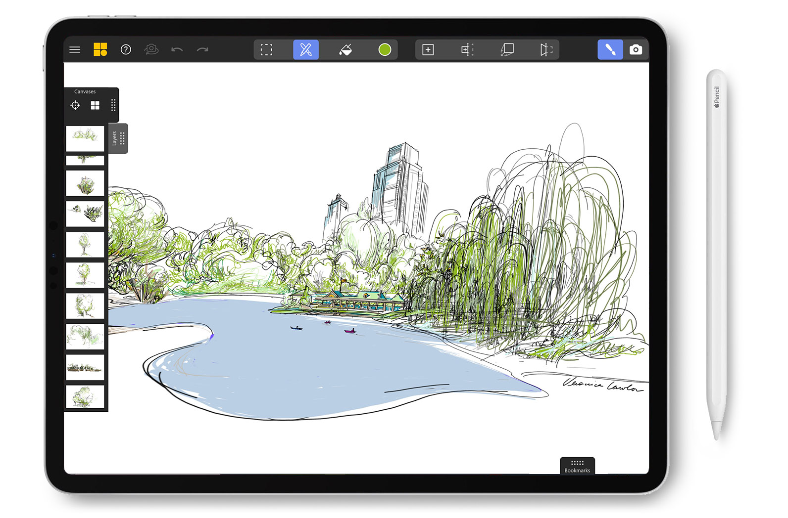 iPad with apple pencil.  Screen shows an illustration of central park created in Mental Canvas