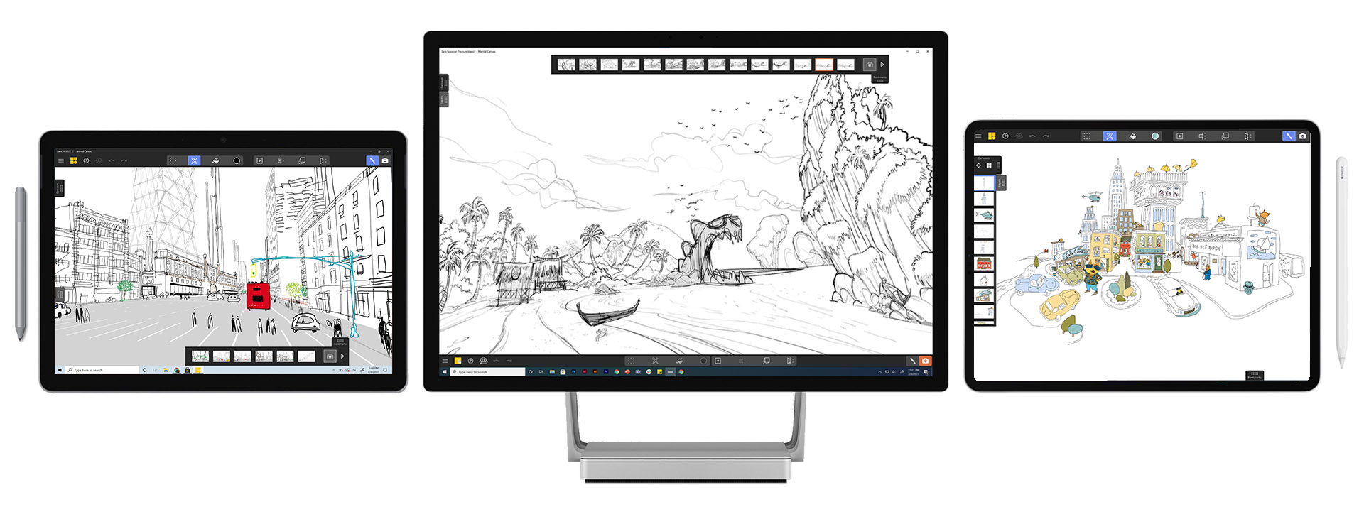 3 devices with mental canvas scenes, surface pro, surface studio and ipad pro