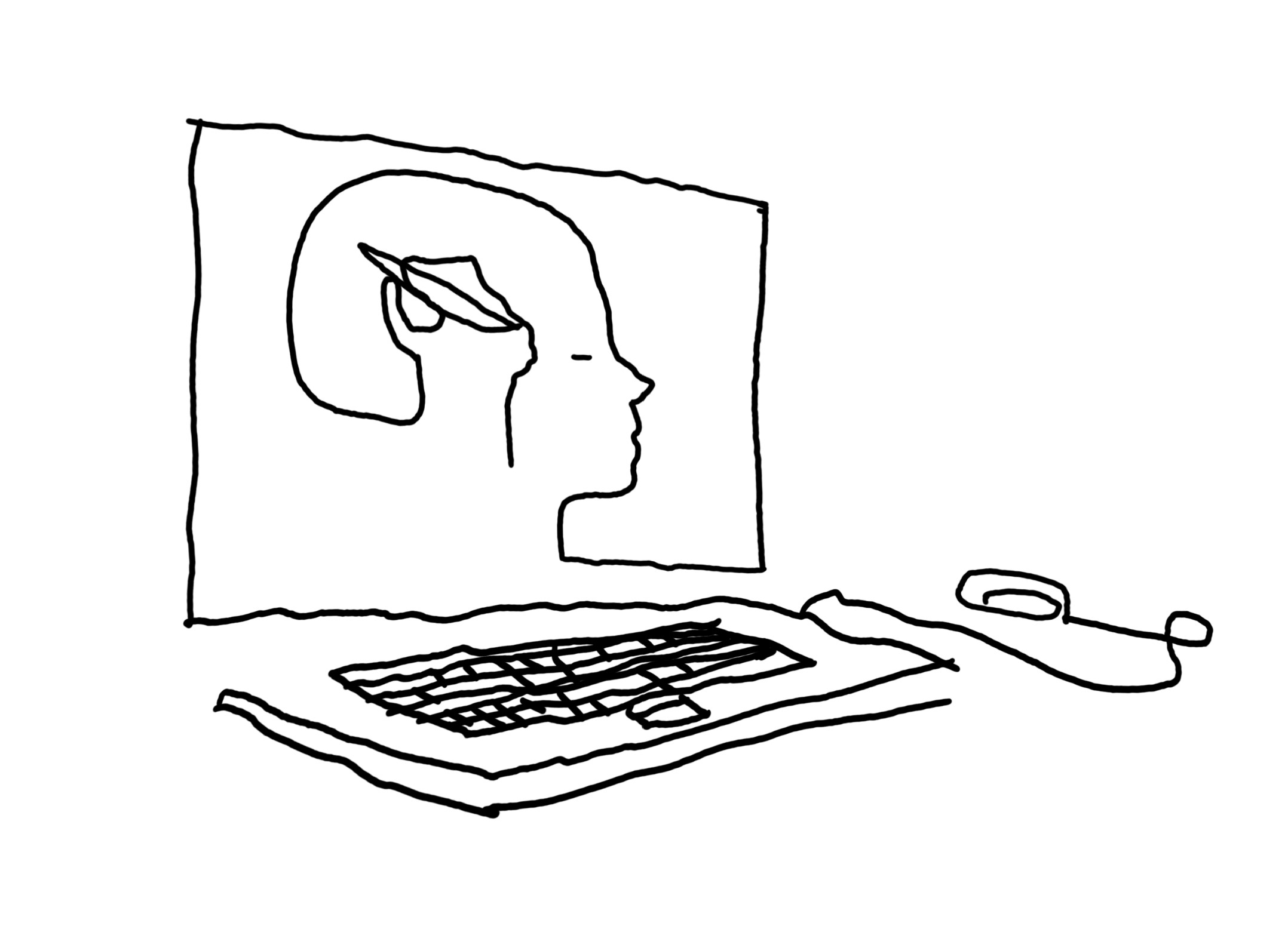 """Line drawing of a computer with a head and hand drawing to represent a """"mental canvas"""""""