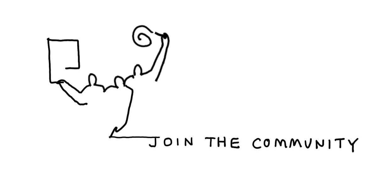 Line drawing to represent the mental canvas community