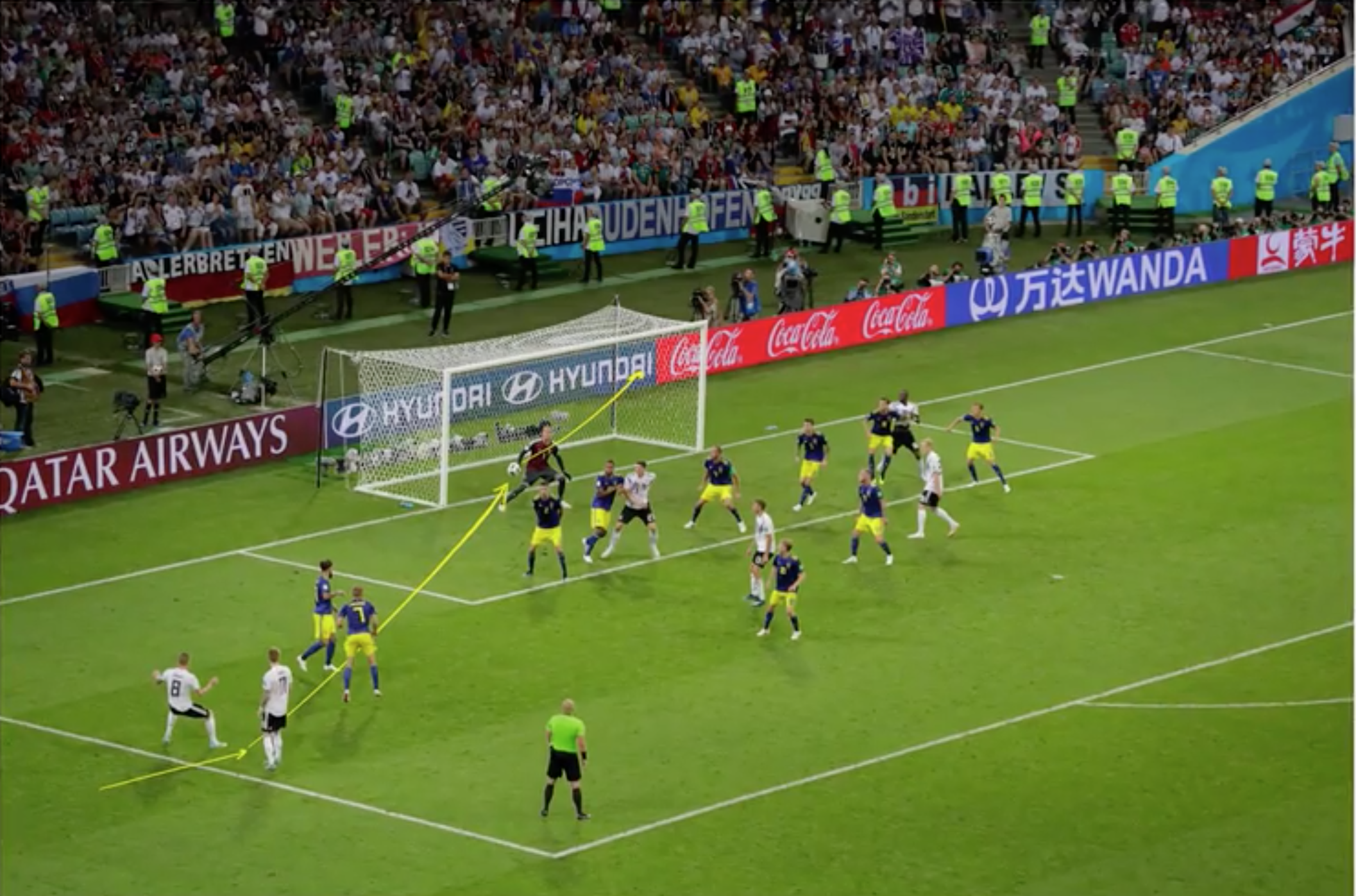 Screenshot from an article on the New York Times website.  Diagrams a soccer play from the world cup.