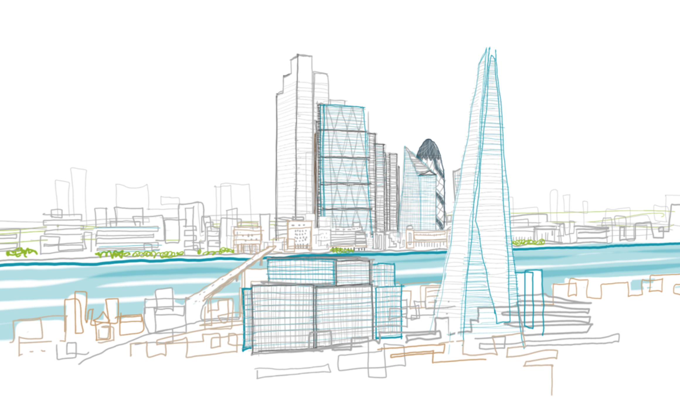 Image from the London Times article on the evolution of the London Skyline.  Illustration of the skyline done by Carol Hsiung in Mental Canvas