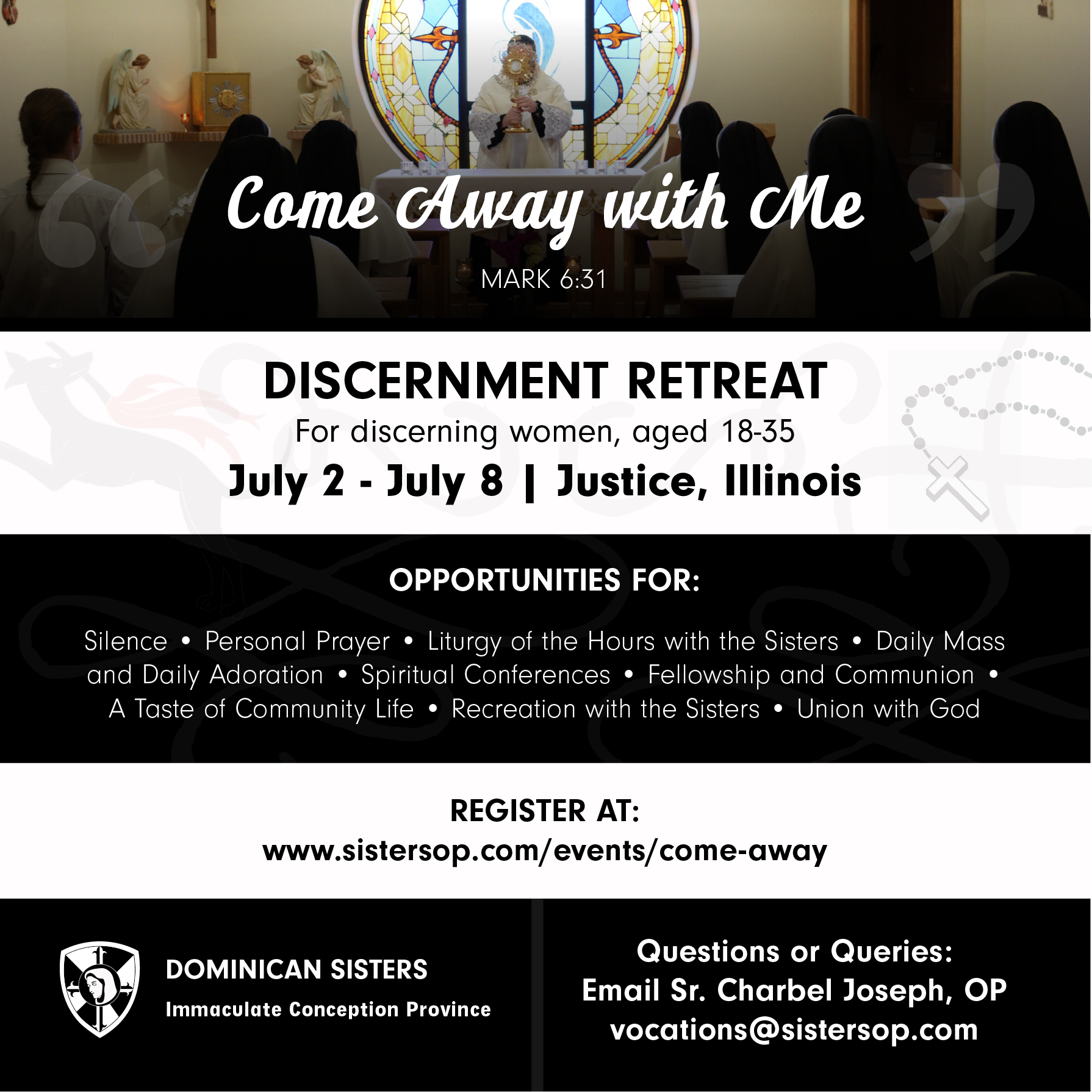 """""""Come Away with Me"""" Discernment Retreat"""