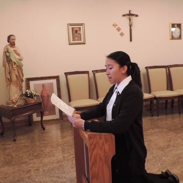 A postulant during her ceremony.