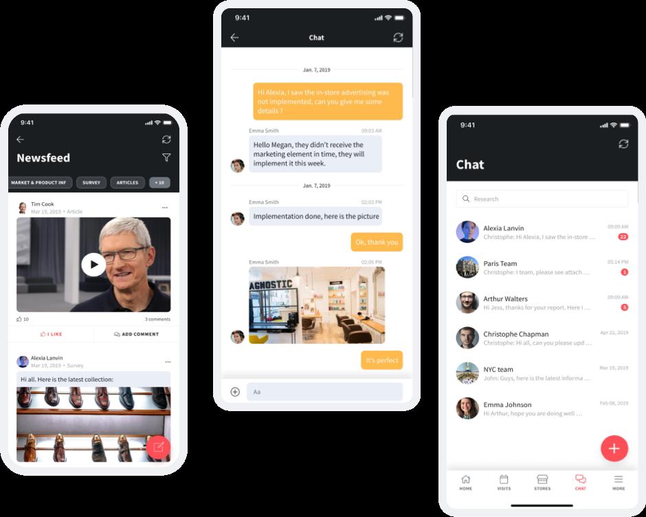 Three app screens showing SimpliField Sync
