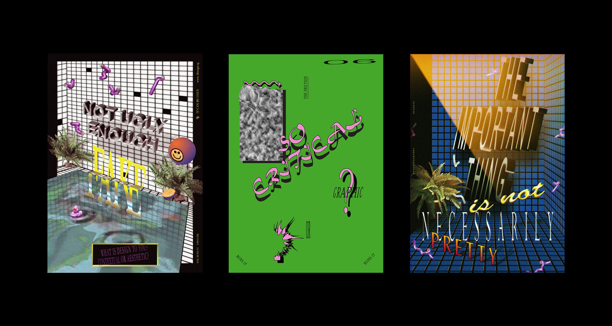 Three posters by Darius Ou that all use a collection of bold colours and lots of stylistically different typography
