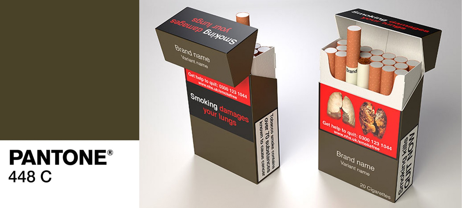 A swatch of an ugly khaki colour and two packets of cigarettes using that colour in the branding.