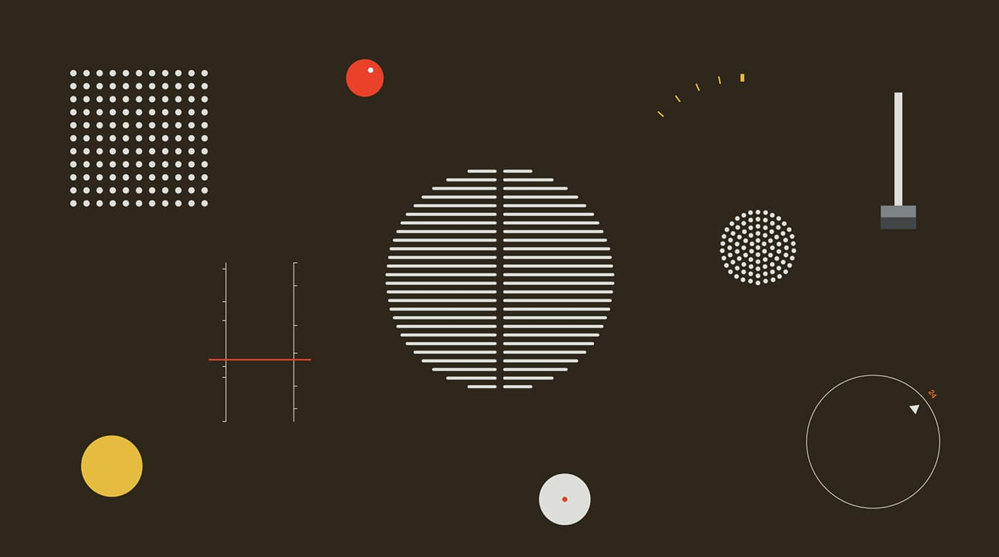 A series of patterns using geometric shapes that capture some of the iconic features of Dieter Rams' products.