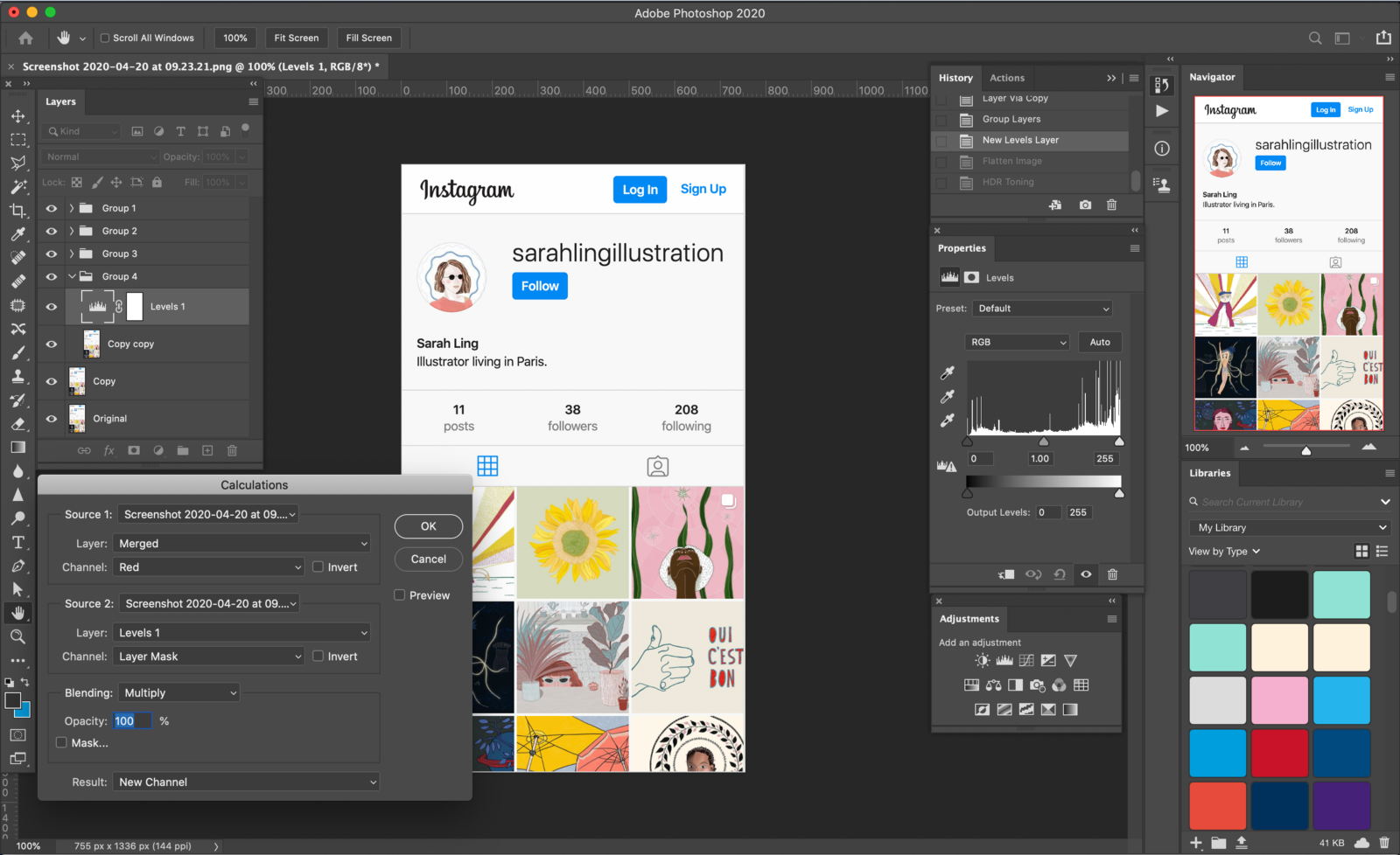 Photoshop open with lots of tool panels open and a photo of an Instagram feed open in the main window