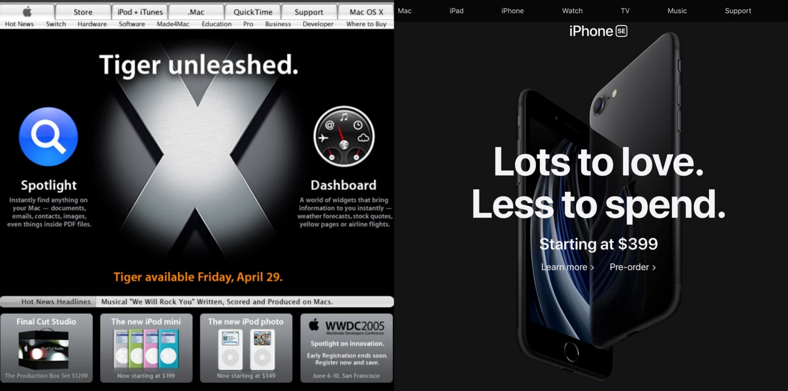 The homepage from 2005 on the left uses skeuomorphic design while the 2020 homepage uses flat design and slick photography