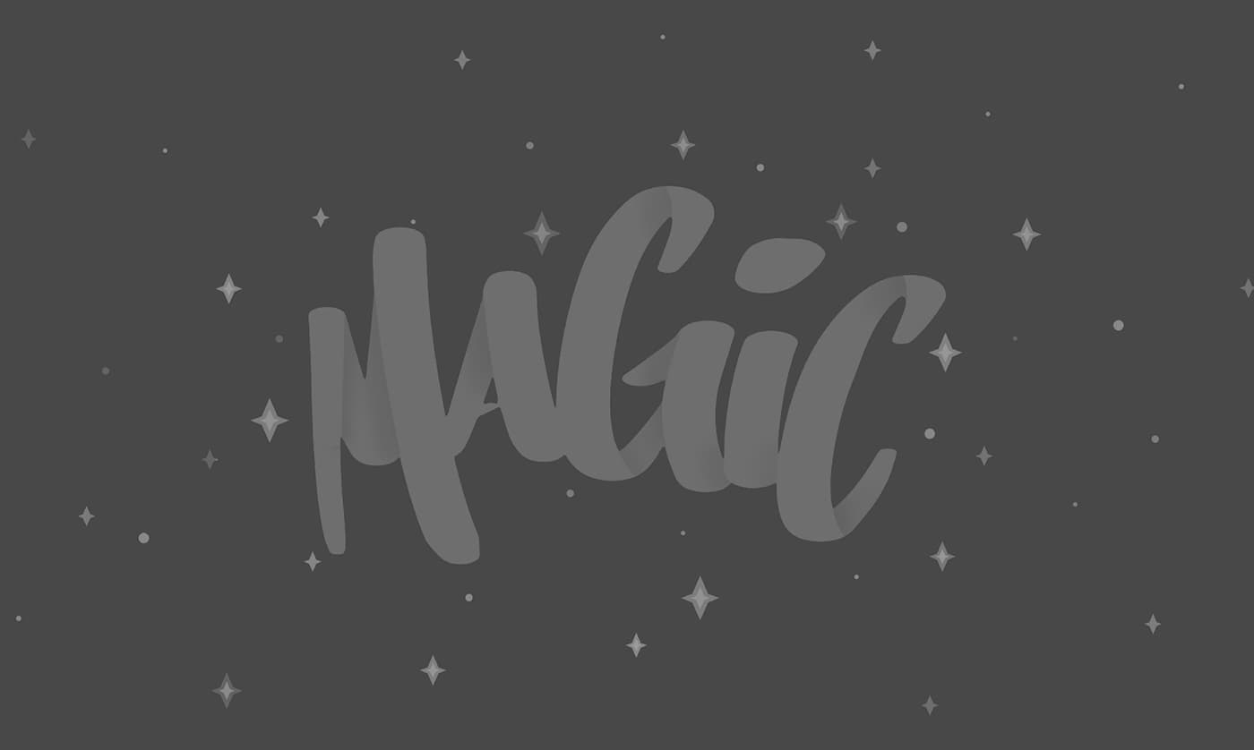 The word Magic illustrated in hand lettering with stars surrounding the word. The design is in different shades of grey.