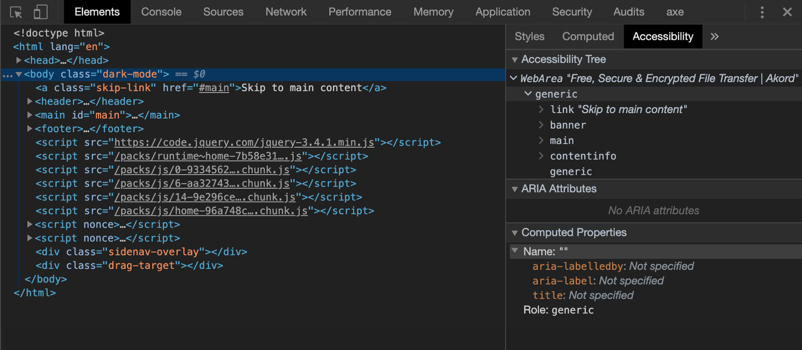 A screenshot of Chrome's Developer Tools and the Accessibility Tree panel