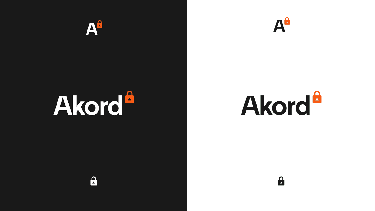 The Akord logo presented on black and white backgrounds.