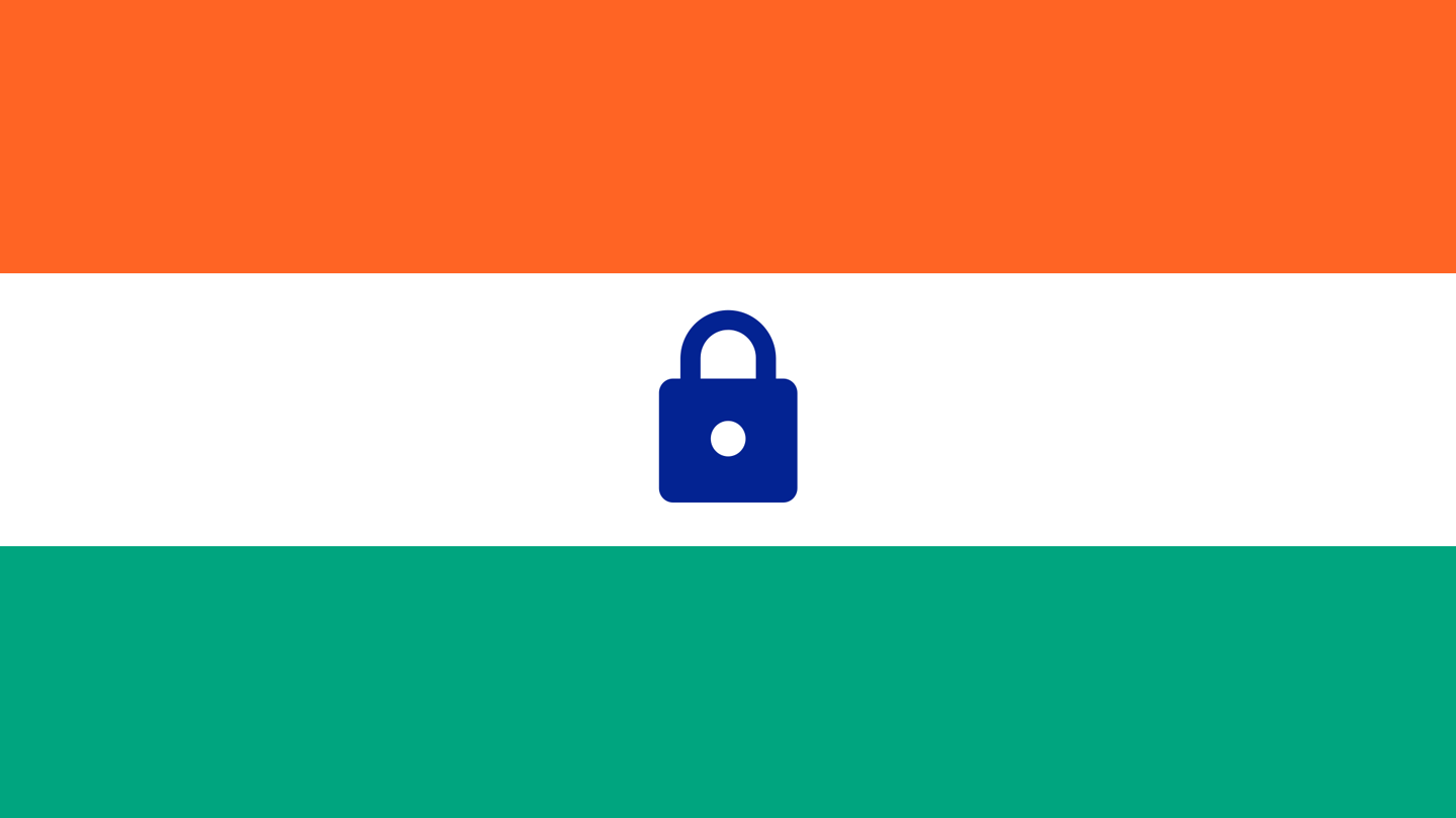 A graphic of the Indian flag with a padlock in the middle instead of the wheel.