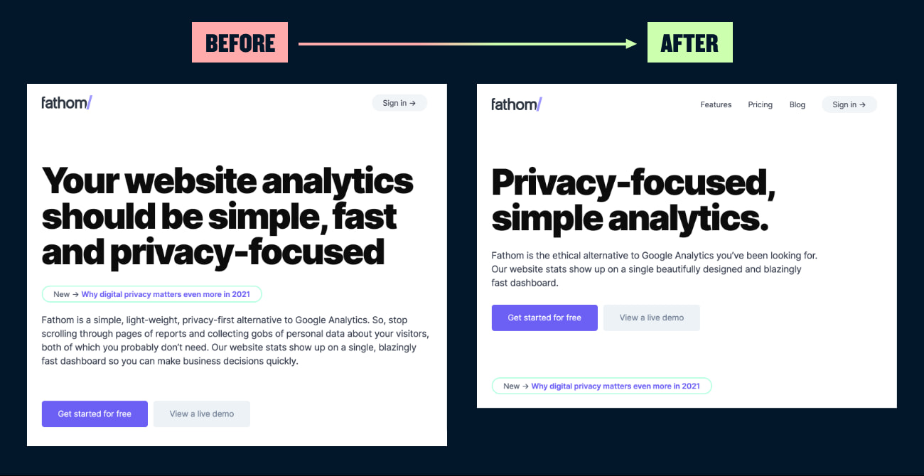 A before and after showing a website's copy edited down.