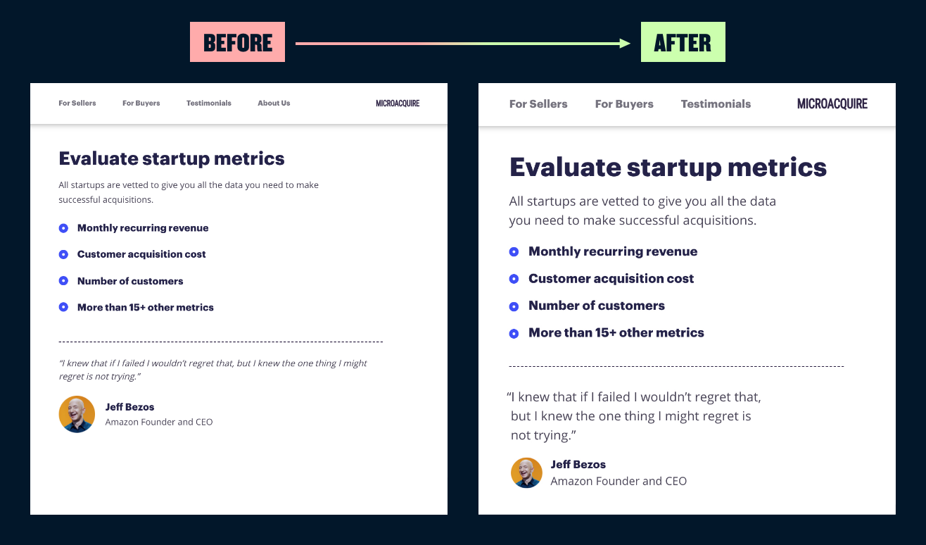 A before and after showing bigger font sizes.