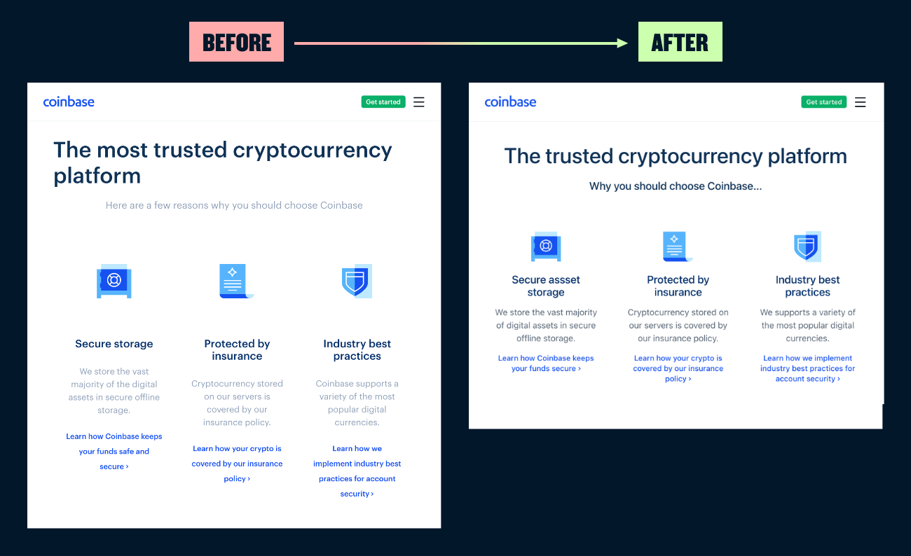 A before and after showing a website layout with tighter spacing