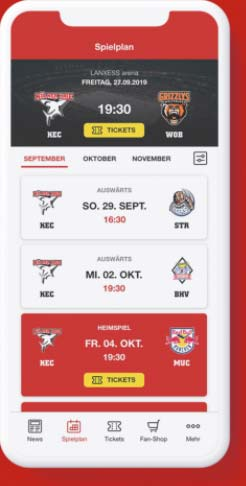 Screenshot Kölner Haie App
