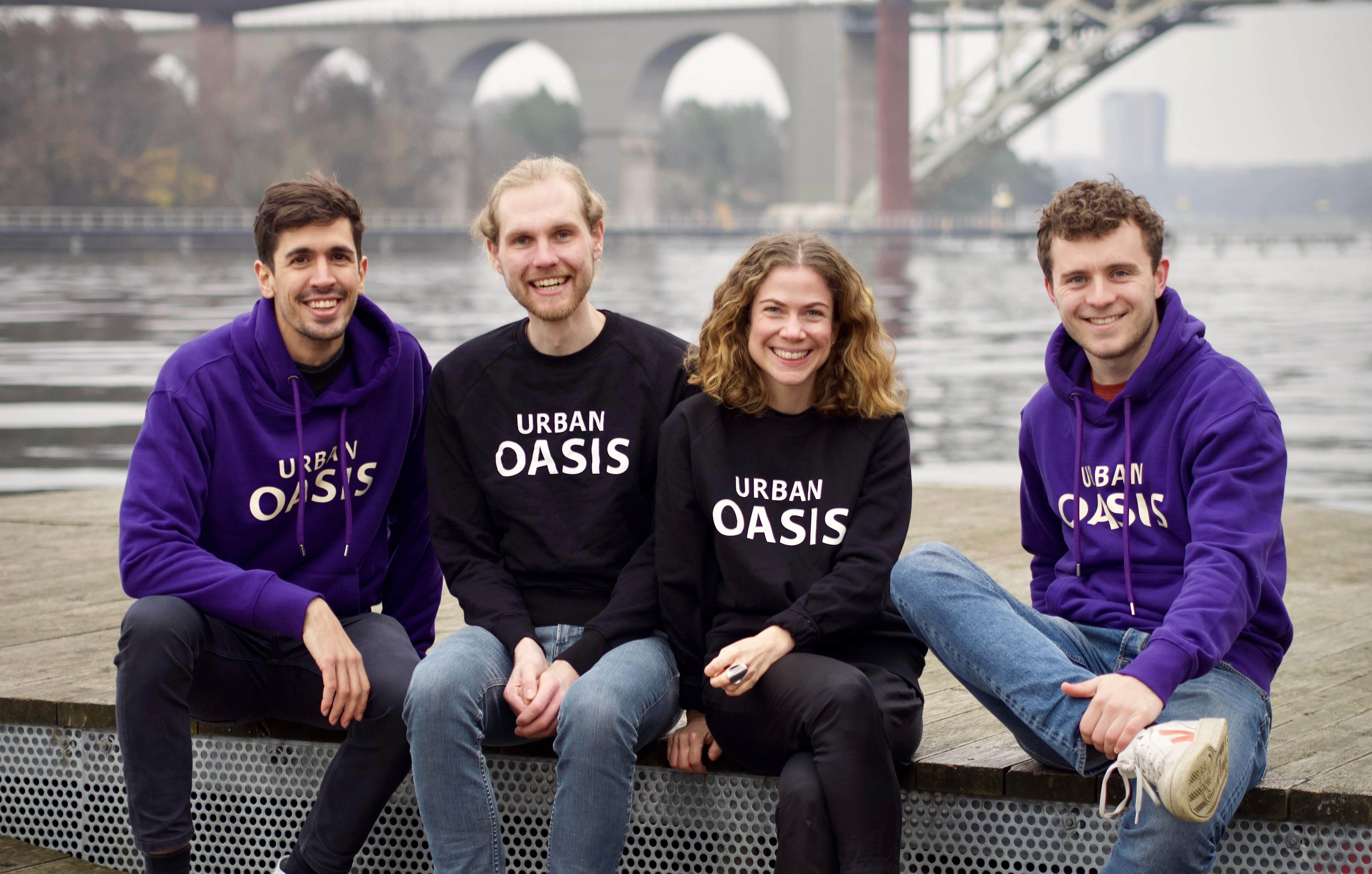 Albert Payaró Llisterri, Lasse Kopiez, Johanna Öhlén Meschke & Lars Bressers core team at Urban Oasis. Photo: Felix Fricke