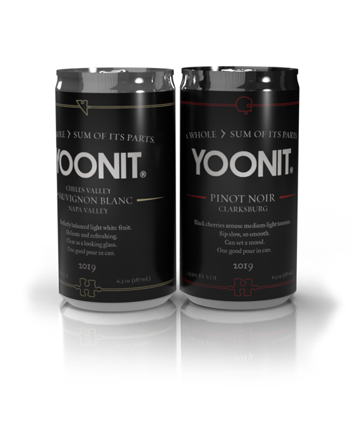 Two cans of Yoonit wine