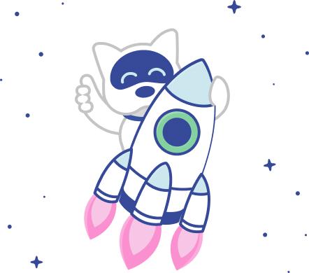 Spot's Mascot in a rocket