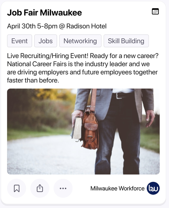 """A screenshot of an Event post, titled """"Job Fair Milwaukee"""". It contains a description of the event and a decorative image."""