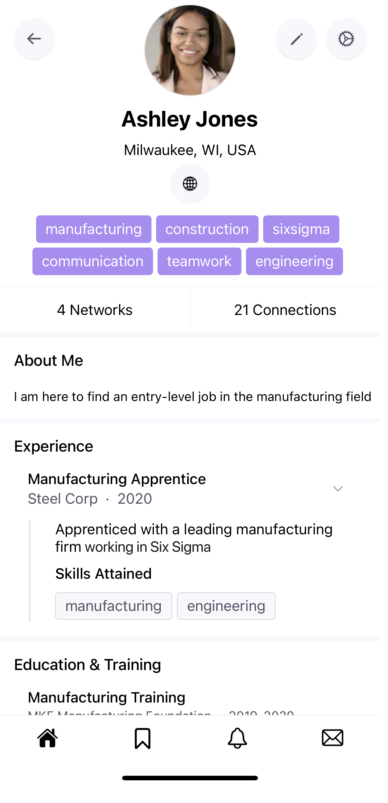 """Screenshot of a job seeker's profile. The job seeker has a Manufacturing Apprentice experience, with a short description. Underneath the description is a """"Skills Attained"""" section with 3 tags the job seeker has added as her skills."""
