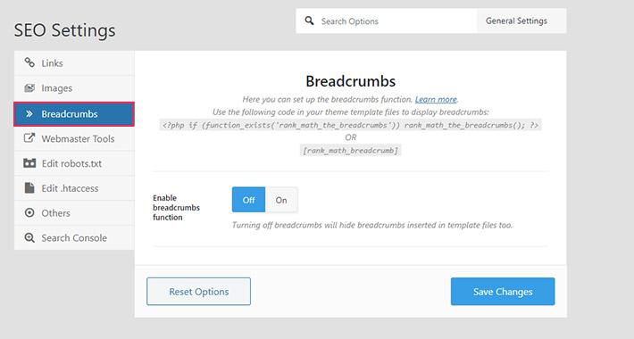 SEO settings for breadcrumbs