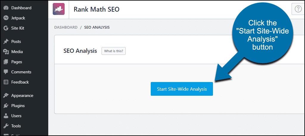 Rank Math SEO analysis start page