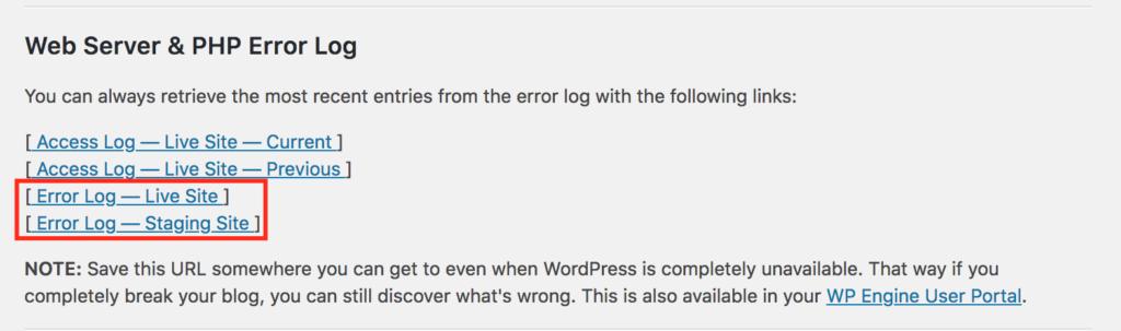 wpengine plugin error logs sample