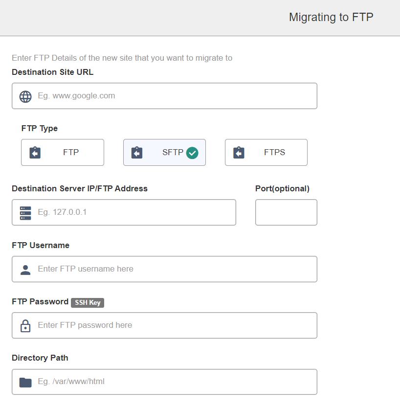 wordpress to strattic migration ftp details screen